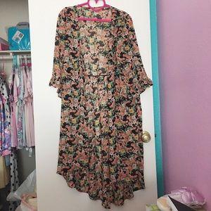 Unif Floral Maxi Kimono Ruffle Sleeve Cardigan